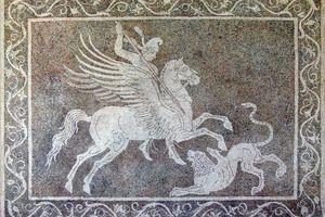 Pebble mosaic depicting Bellerophon killing Chimaera