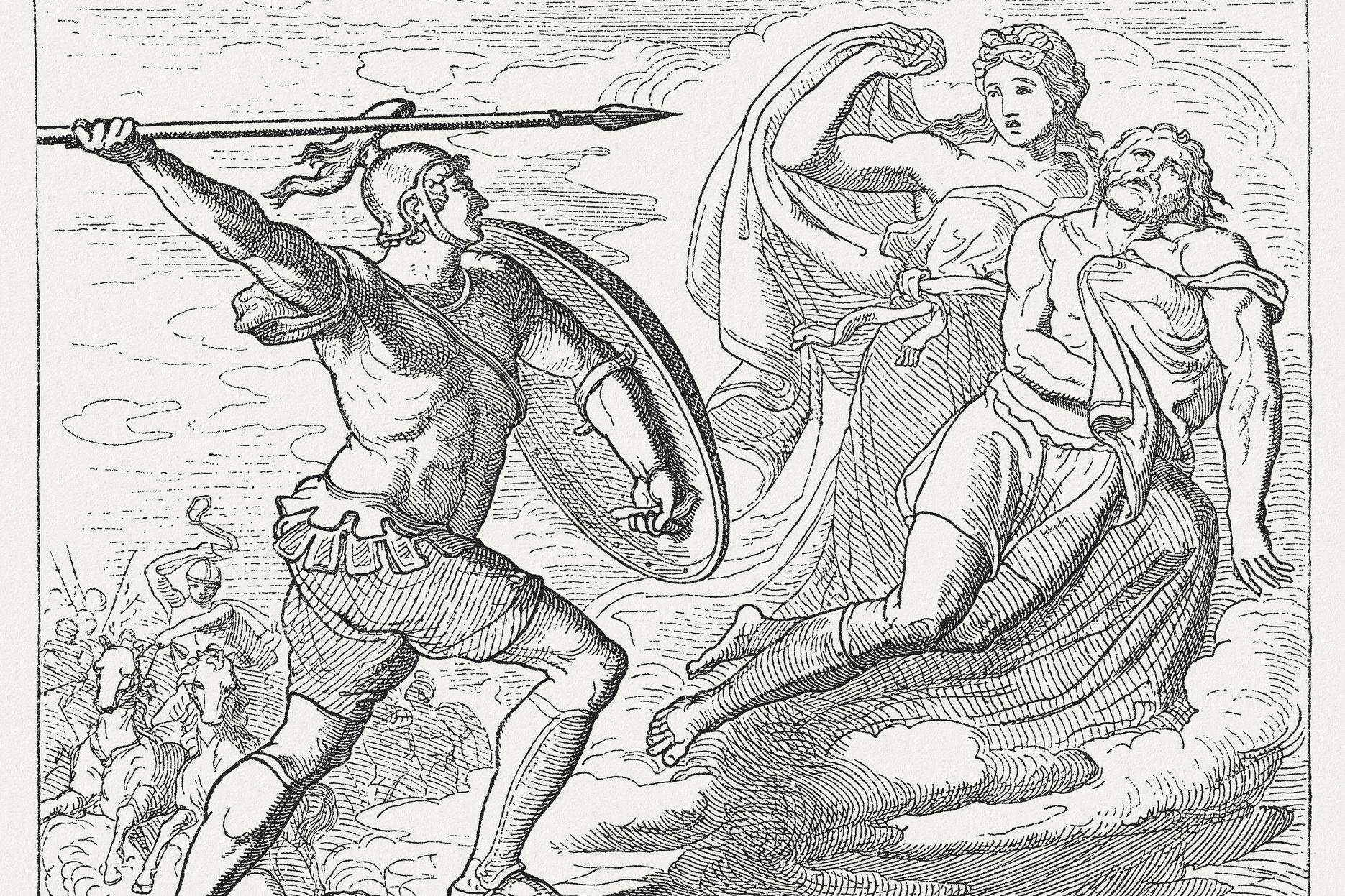Aeneas von Aphrodite vor den mächtigen Diomedes gerettet
