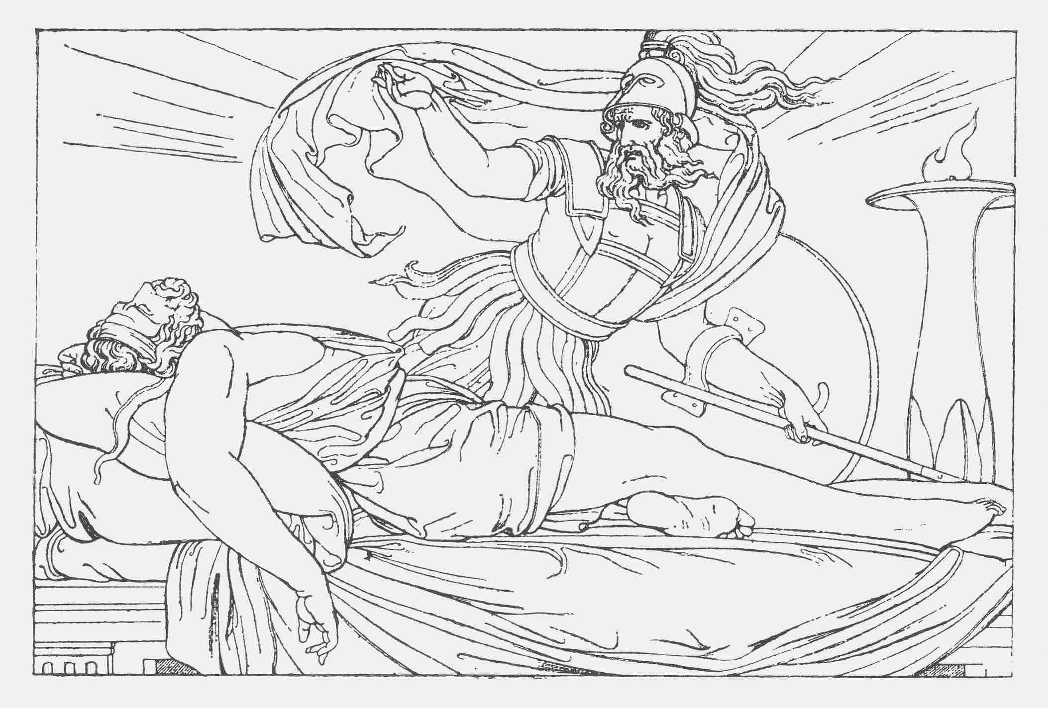 Nestor trifft Agamemnon in einem Traum