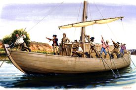 A painting depicts Meriwether Lewis And William Clark's expedition on their keelboat navigating the Missouri River