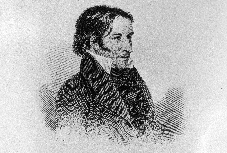 Engraved portrait of frontier hero Davy Crockett