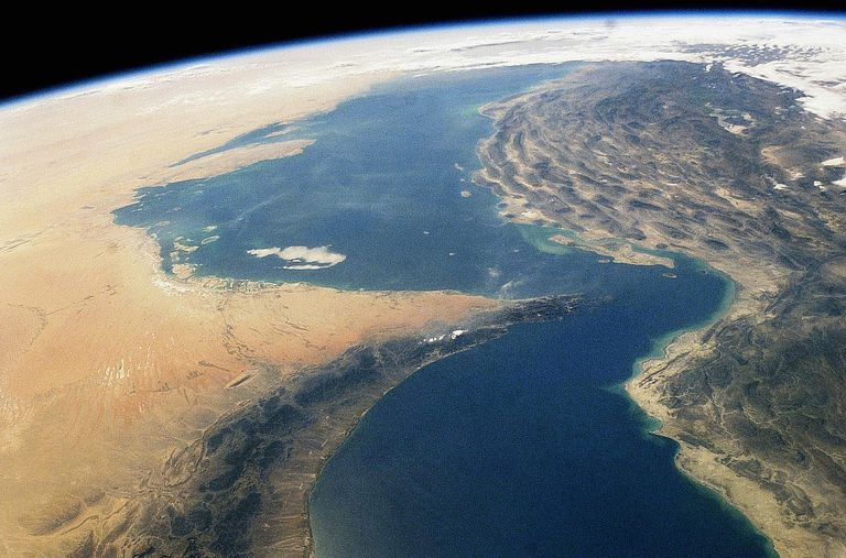 Satellite view of the Strait of Hormuz