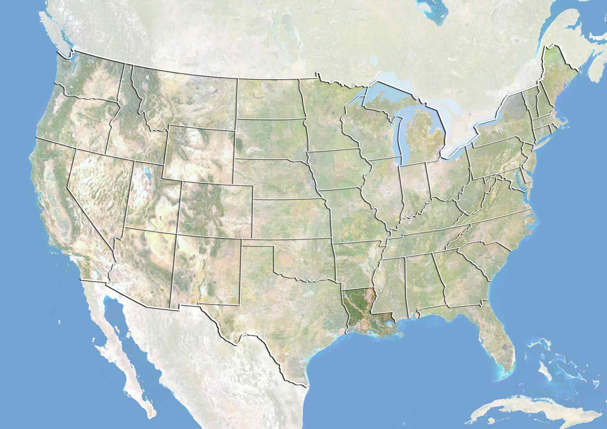 United States and the State of Louisiana, Satellite Image With Bump Effect