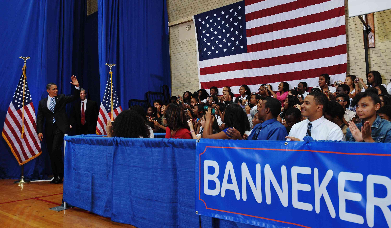 US President Barack Obama and Education Secretary Arne Duncan arrives for Obama's annual back-to-school address at Benjamin Banneker Academic High School September 28, 2011 in Washington, DC.
