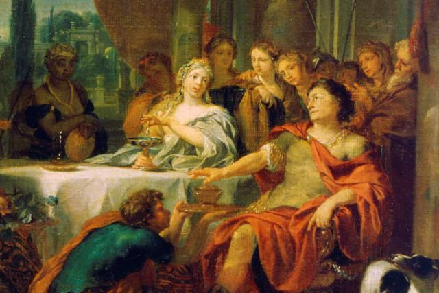 Painting depicting Antony and Cleopatra