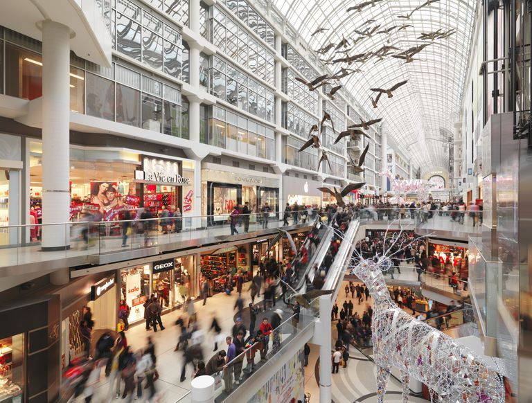 Eaton Centre largest shopping mall in downtown Toronto full of people on Boxing day in 2011. Ontario, Canada