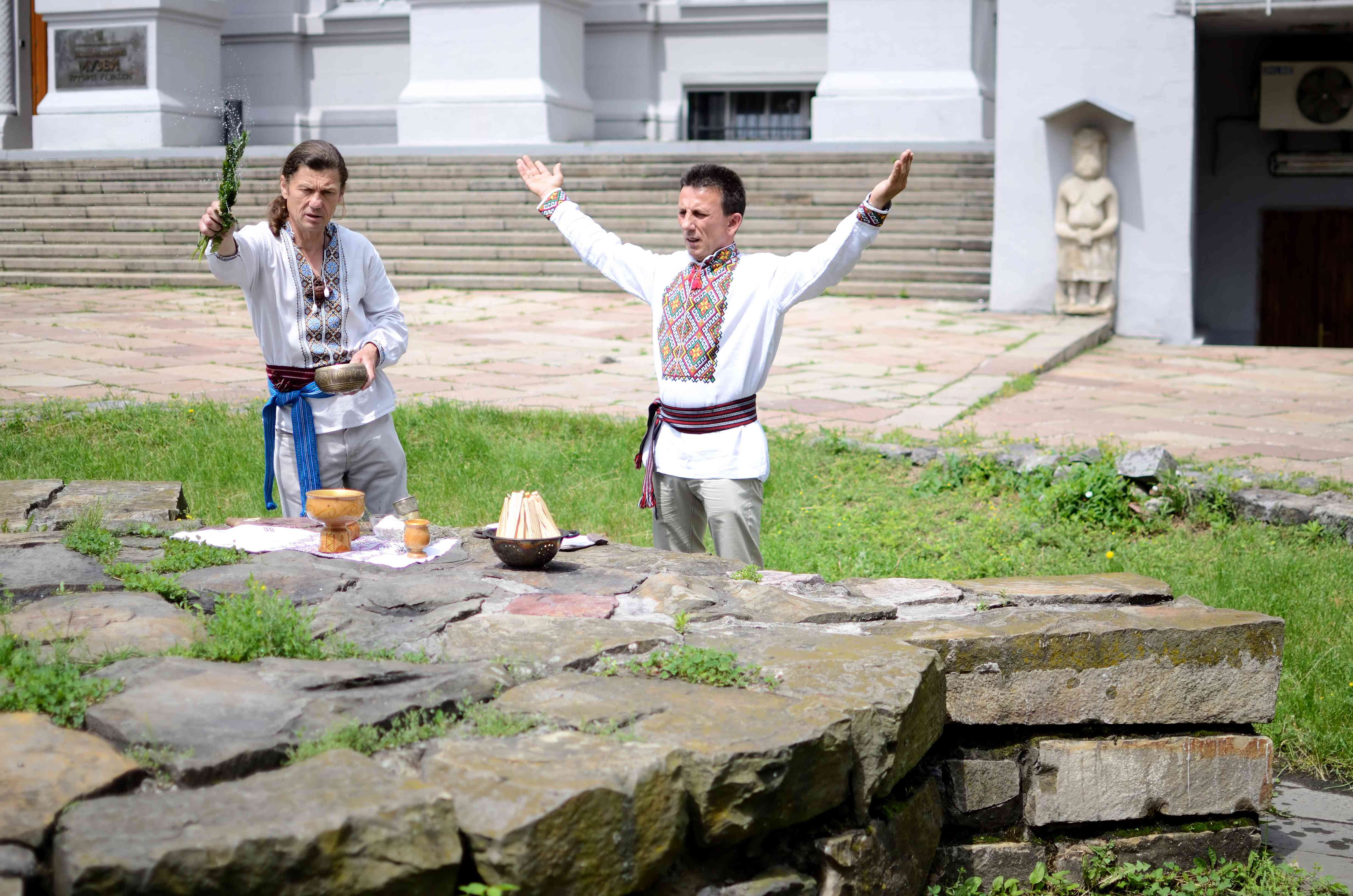 ukrainian pagan community making ritual ceremony dedicated to Perun,Ukraine