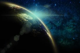 Part of earth with sun rise and lens flare