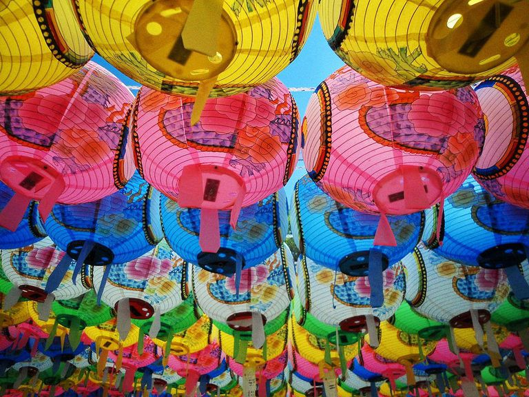 Colorful traditional lanterns found all over the Beopjusa Temple in South Korea for Buddha's birthday.