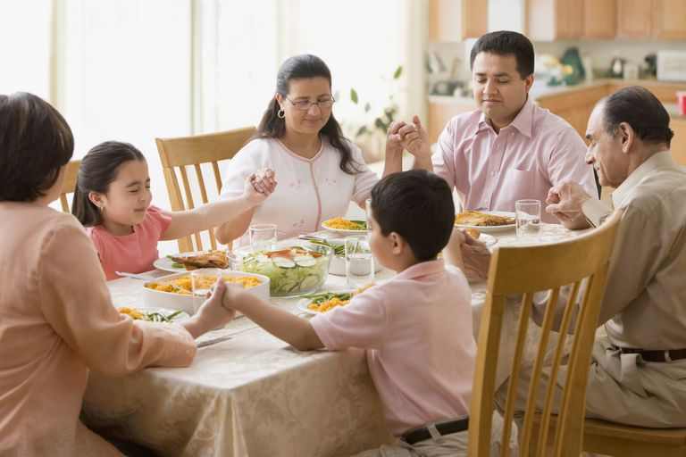 Hispanic family praying at dinner table