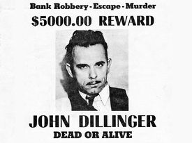 John Dillinger wanted poster, black and white image.