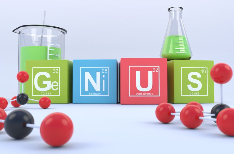 GeNiUS is a word written with the element symbols for germanium, nickel, uranium, and sulfur.