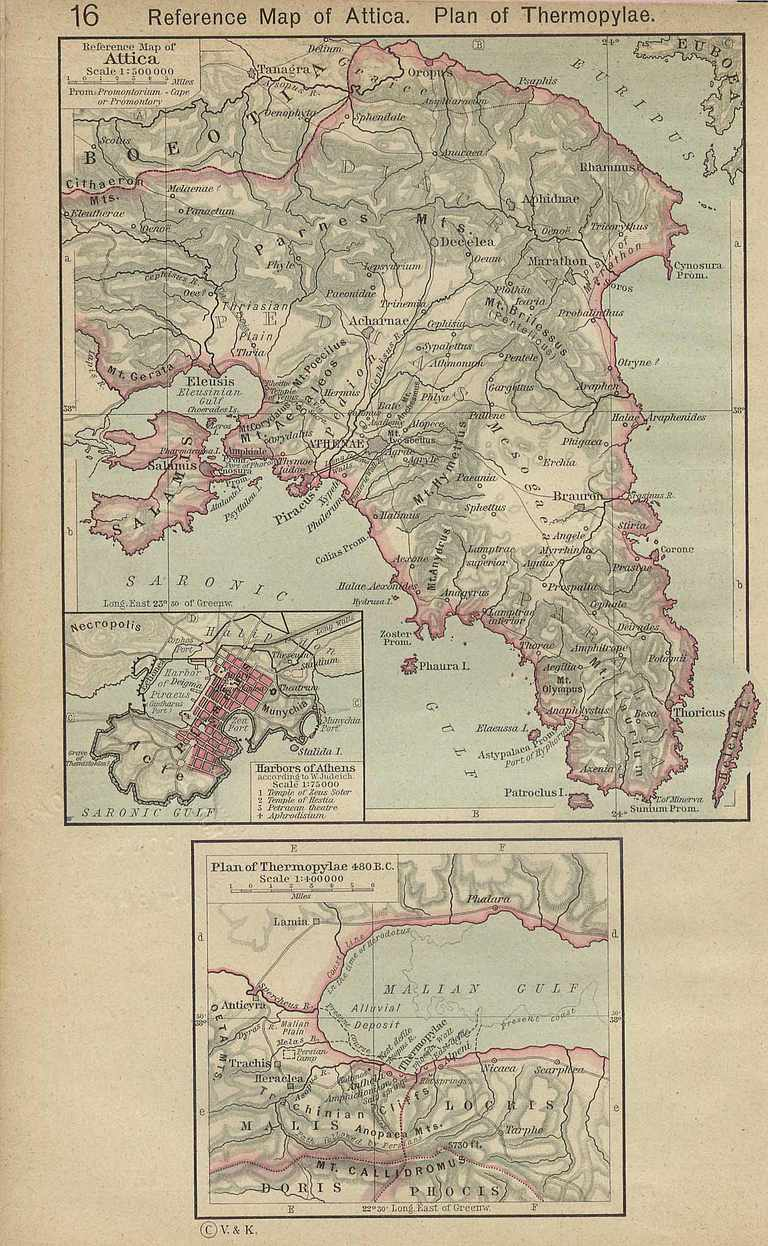 Map of Attica and Thermopylae.