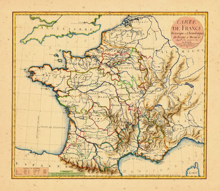 Map 0f South Of France.Brief Summary Of French History