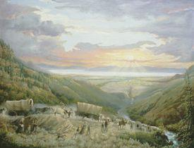 Pioneers entering Salt Lake Valley in 1847