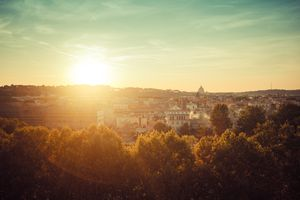 View of Rome, Italy at sunset