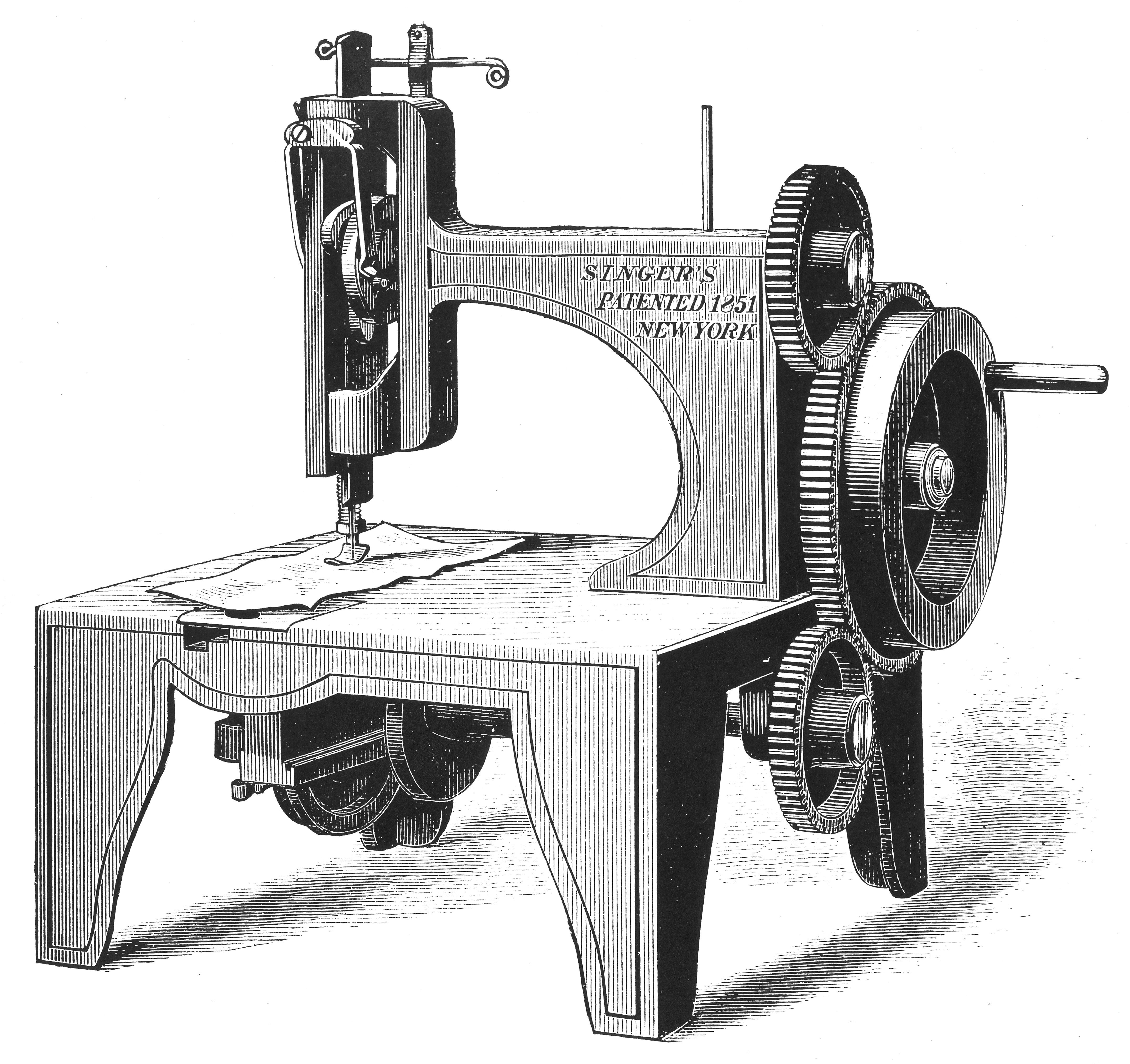 Isaac Merrit Singer's first sewing machine, patented in 1851 (1880).