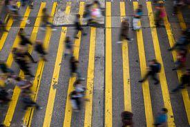 Blurred motion on city street, Hong Kong