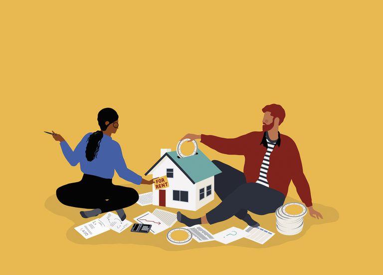 Ilustración de pareja y alquiler de vivienda.