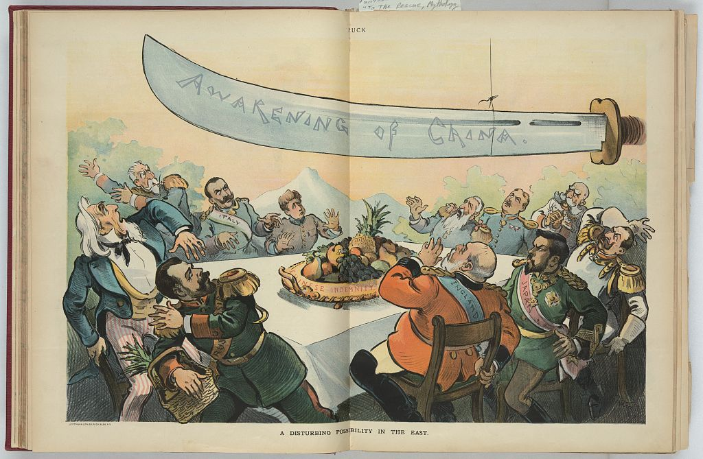 China's rage hangs by a thread, threatening the victorious foreign powers after the Boxer Rebellion