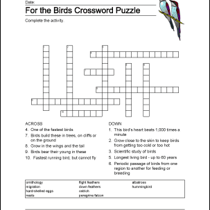 Bird-Themed Word Search, Vocabulary, Crossword and More