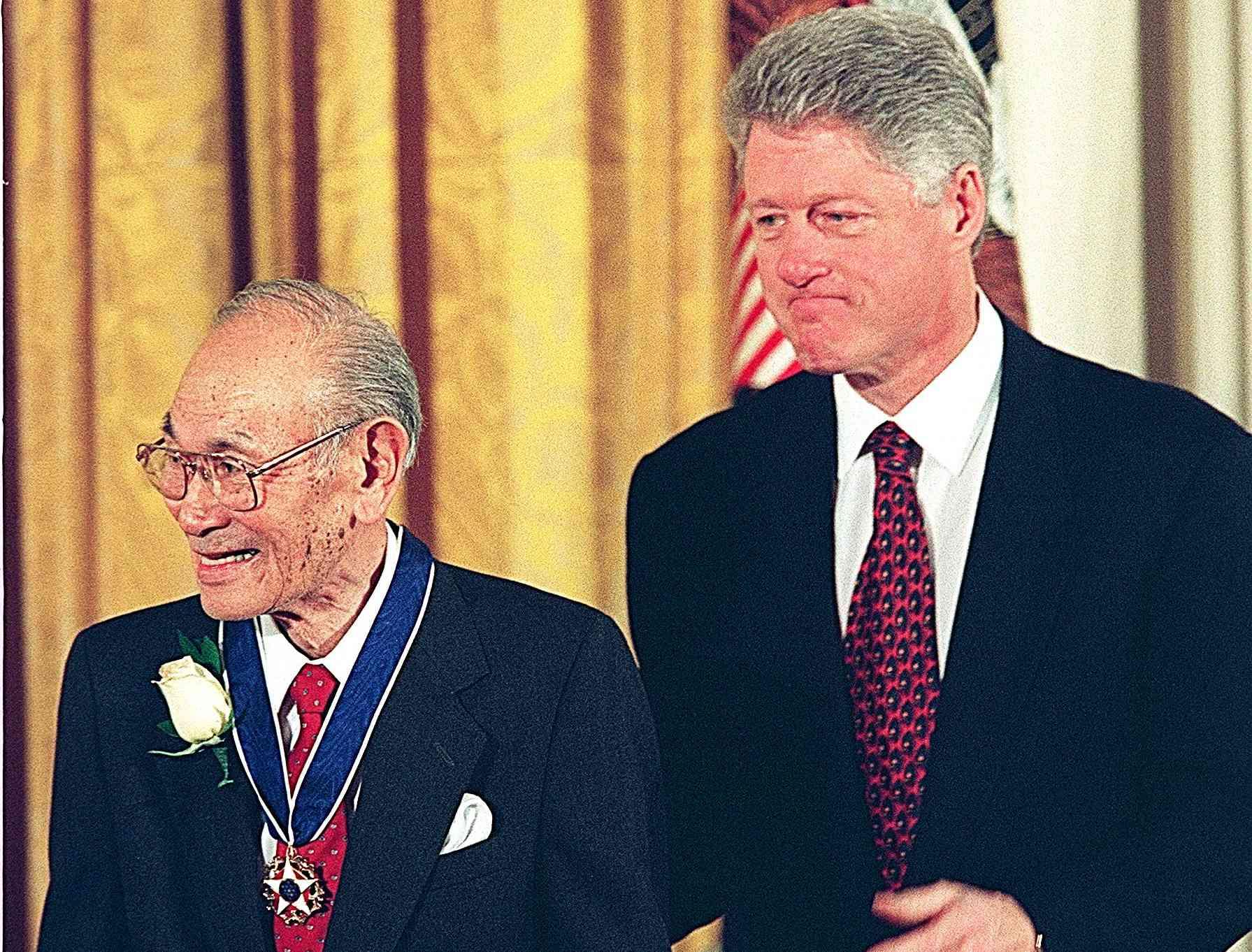 President Bill Clinton with Fred Korematsu