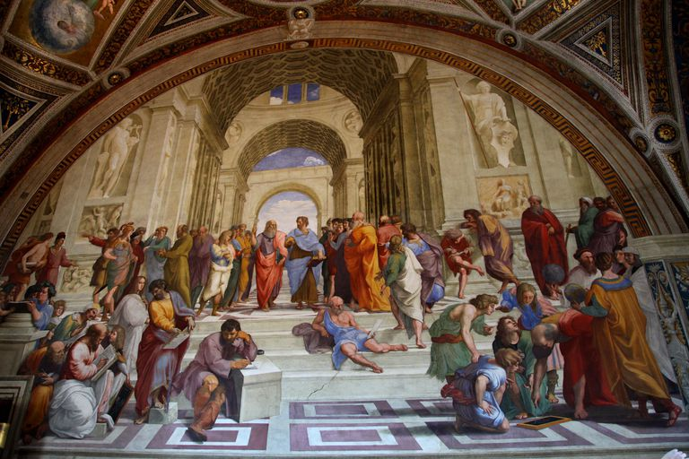 """""""The School of Athens"""" painting by Raphael showing Greek philosophers and luminaries."""