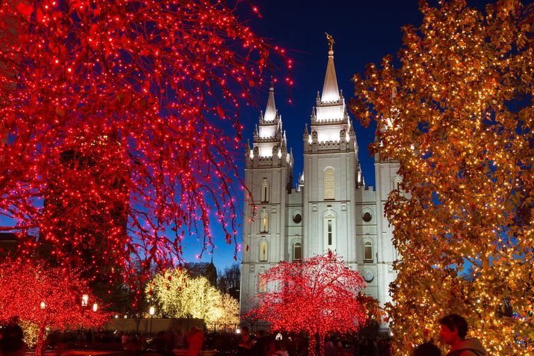 The Salt Lake Temple is framed between the Christmas light on Temple Square. Photo courtesy of the Mormon Newsroom. © All rights reserved.