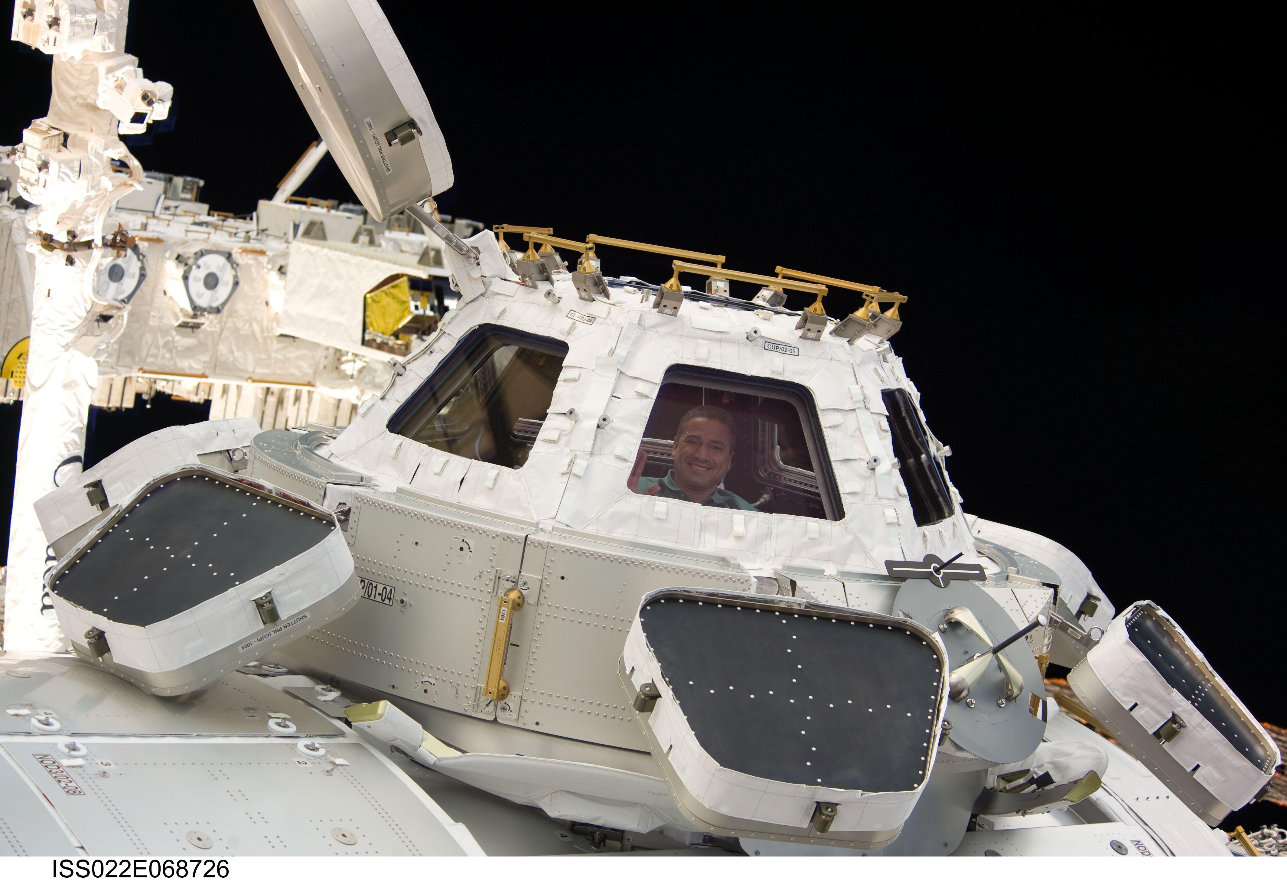 Cupola spacecraft module, white with windows all around