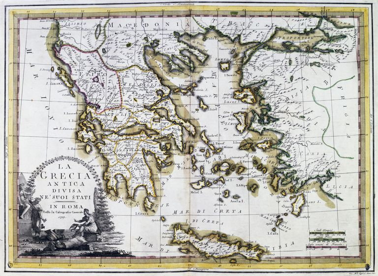 Ancient Greece divided in its states, 1799, Rome, Italy, 18th century