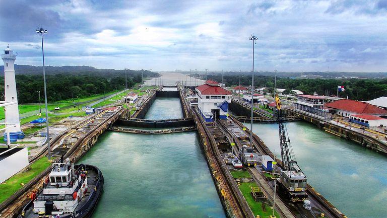 High Angle View Of Panama Canal