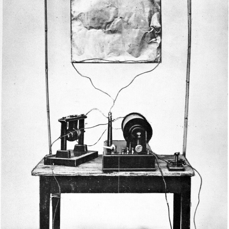 Photograph of inventor Guglielmo Marconi's first radio transmitter