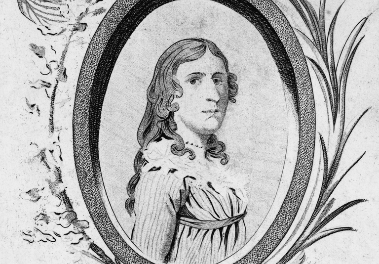 Engraved portrait of Deborah Sampson (1787)