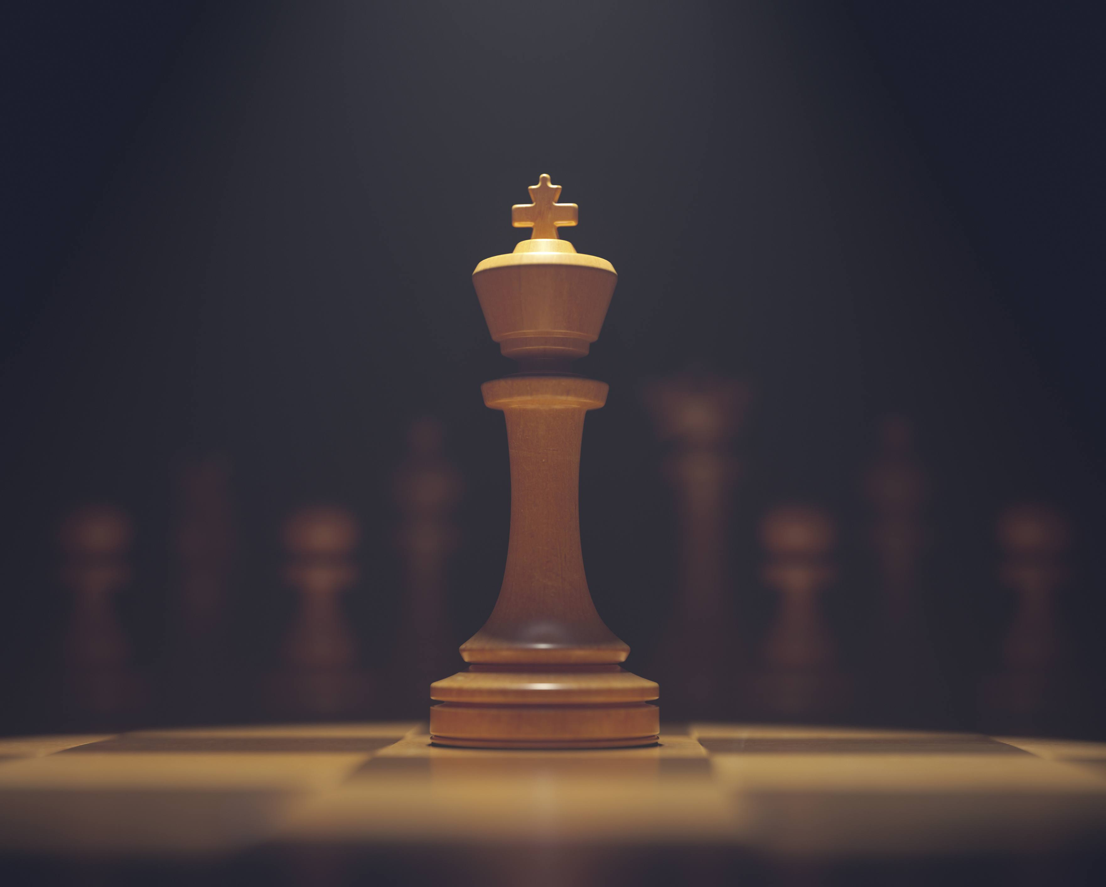Chess king on board