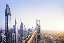 High angle cityscape of Dubai skyline - digital composite