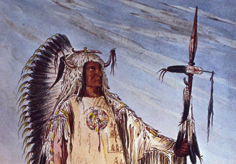 Painting of a Mandan Chief by George Catlin