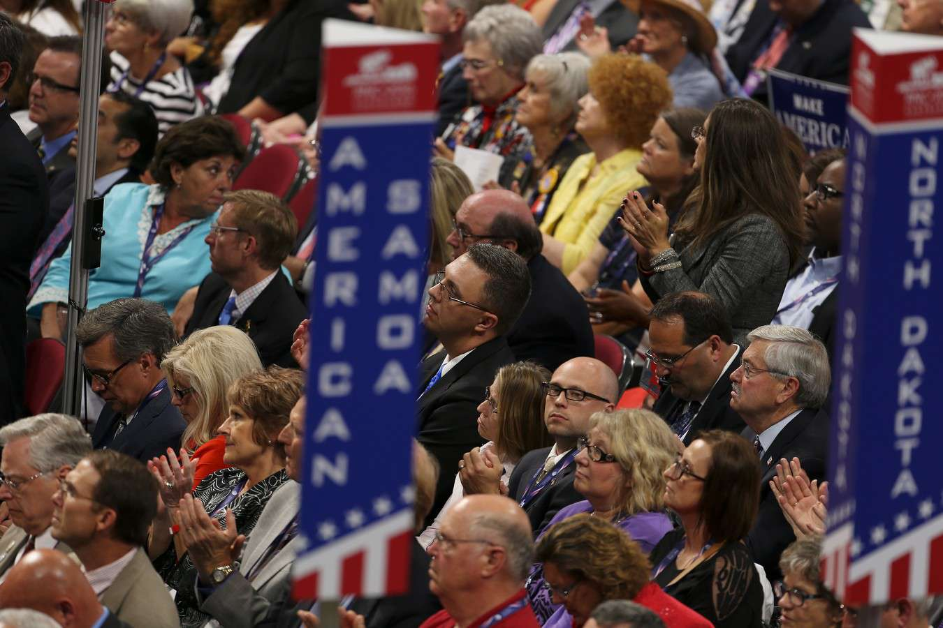 Delegates cheer speakers at the Republican Convention