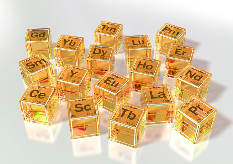 The lanthanides, plus scandium and yttrium, are the rare earth metals.