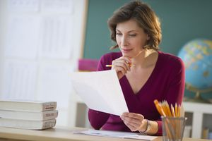 Teacher working at her desk