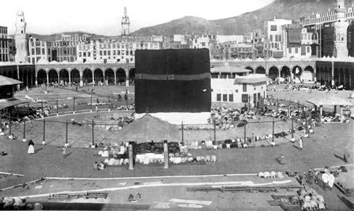 The Kaaba sits in the Courtyard of the Great Mosque in Mecca, Saudi Arabia