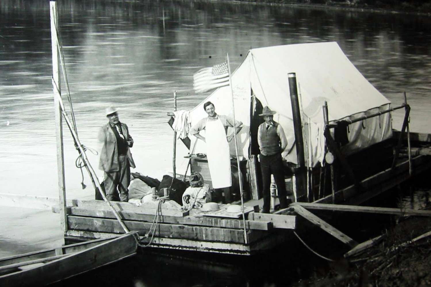 Henry Fairfield Osborn, Fred Saunders, and Barnum Brown on the scow Mary Jane in 1911