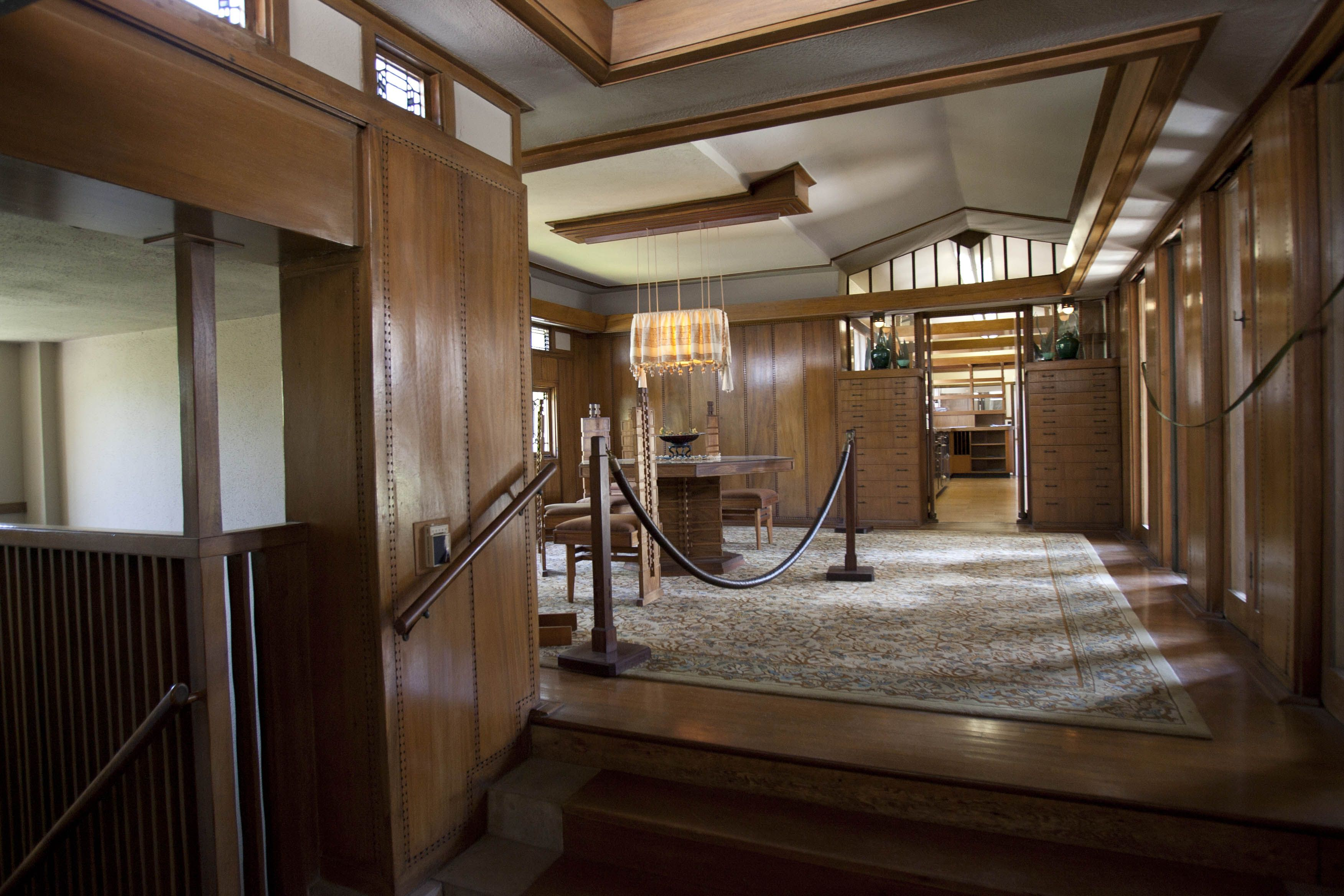 Up A Few Steps To The Dining Room Of Frank Lloyd Wright S Hollyhock House 1921