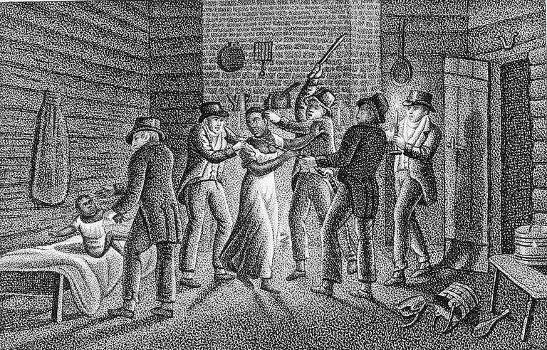 Illustration of a fugitive slave being seized.