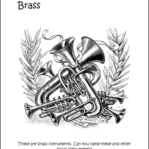 Brass Instruments Coloring Page