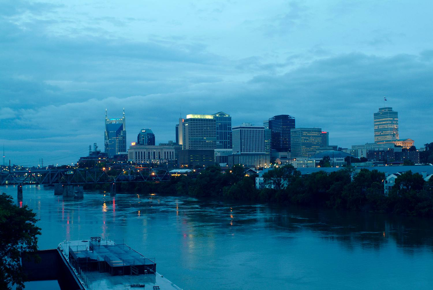 Tennessee, Nashville, Maybe Bob Dylan was on to something: The Mississippi River flows by the Nashville Skyline at dawn.