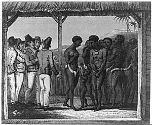 an illustrated depiction of slavery