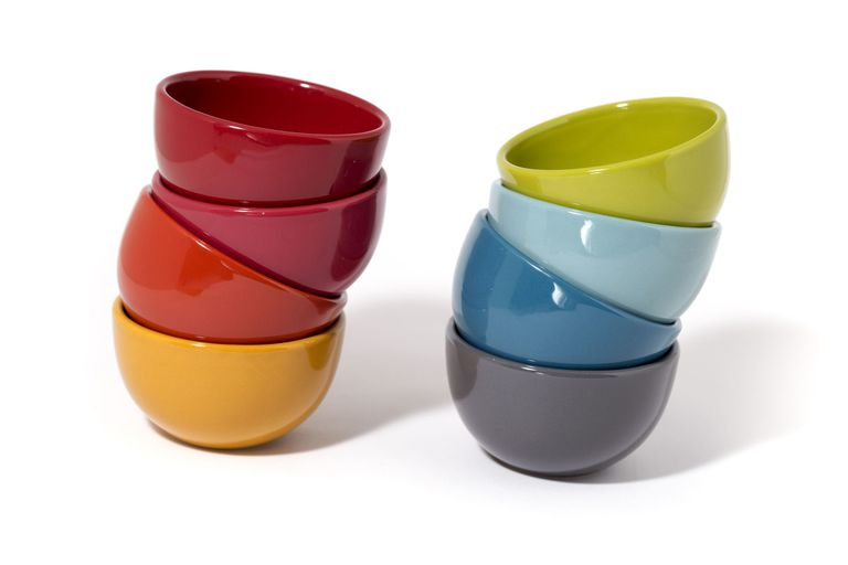Two stacks of colorful bowls used to represent recursion