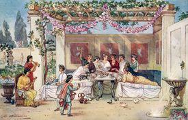 Ancient Romans having dinner in the garden, illustration by J. Williamson.
