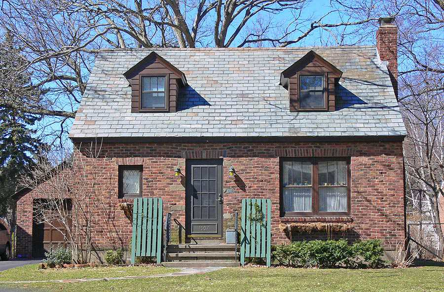 Patterned Brick and Slate Gable Roof, two dormers, side chimney, asymmetric