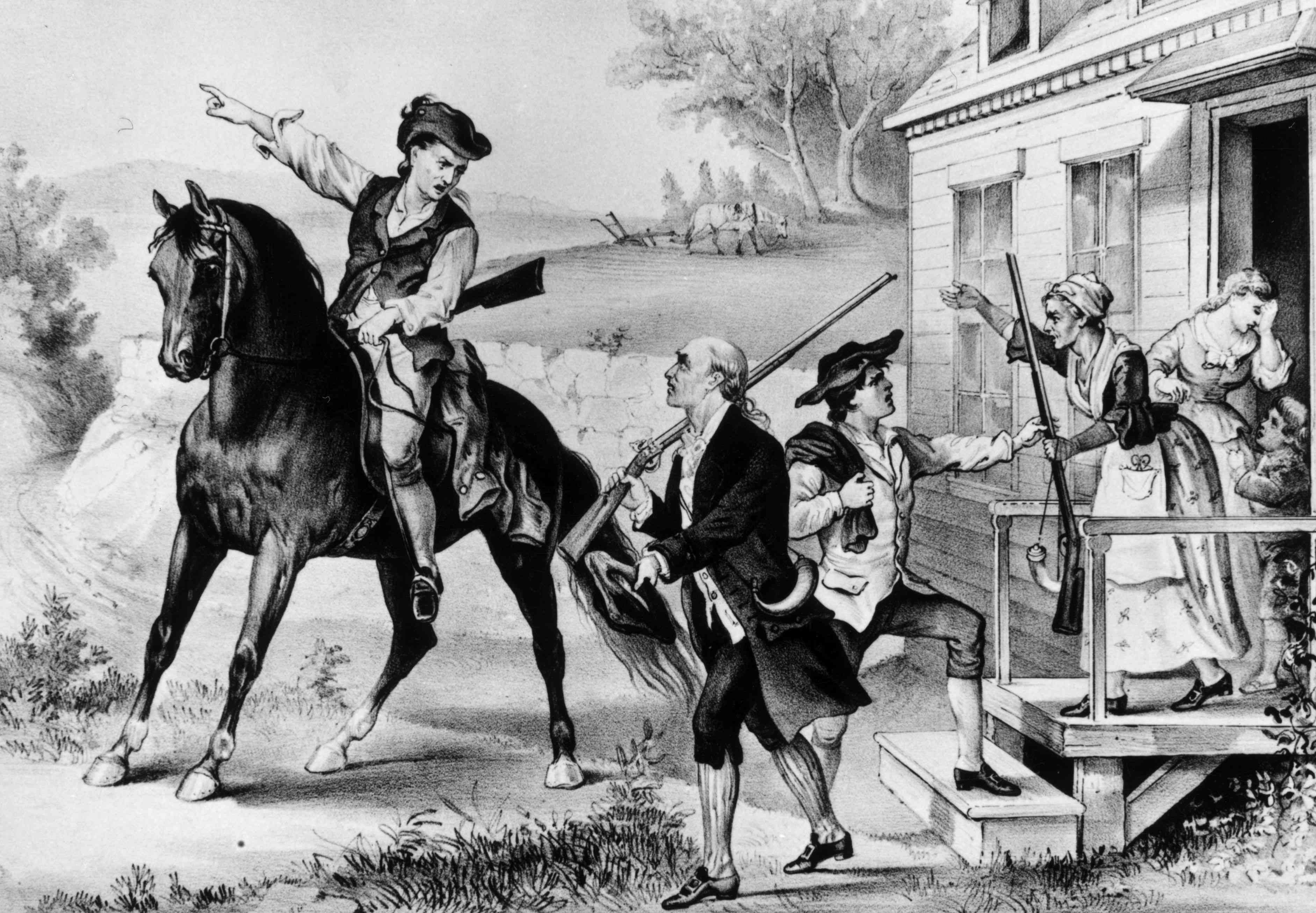 1774: A gathering of minutemen - colonial militia of New England who were ready to fight the British at a moment's notice.
